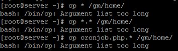 argument list too long