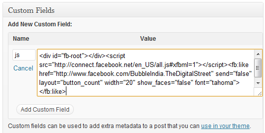 Adding JavaScript in WordPress posts using Custom Fields